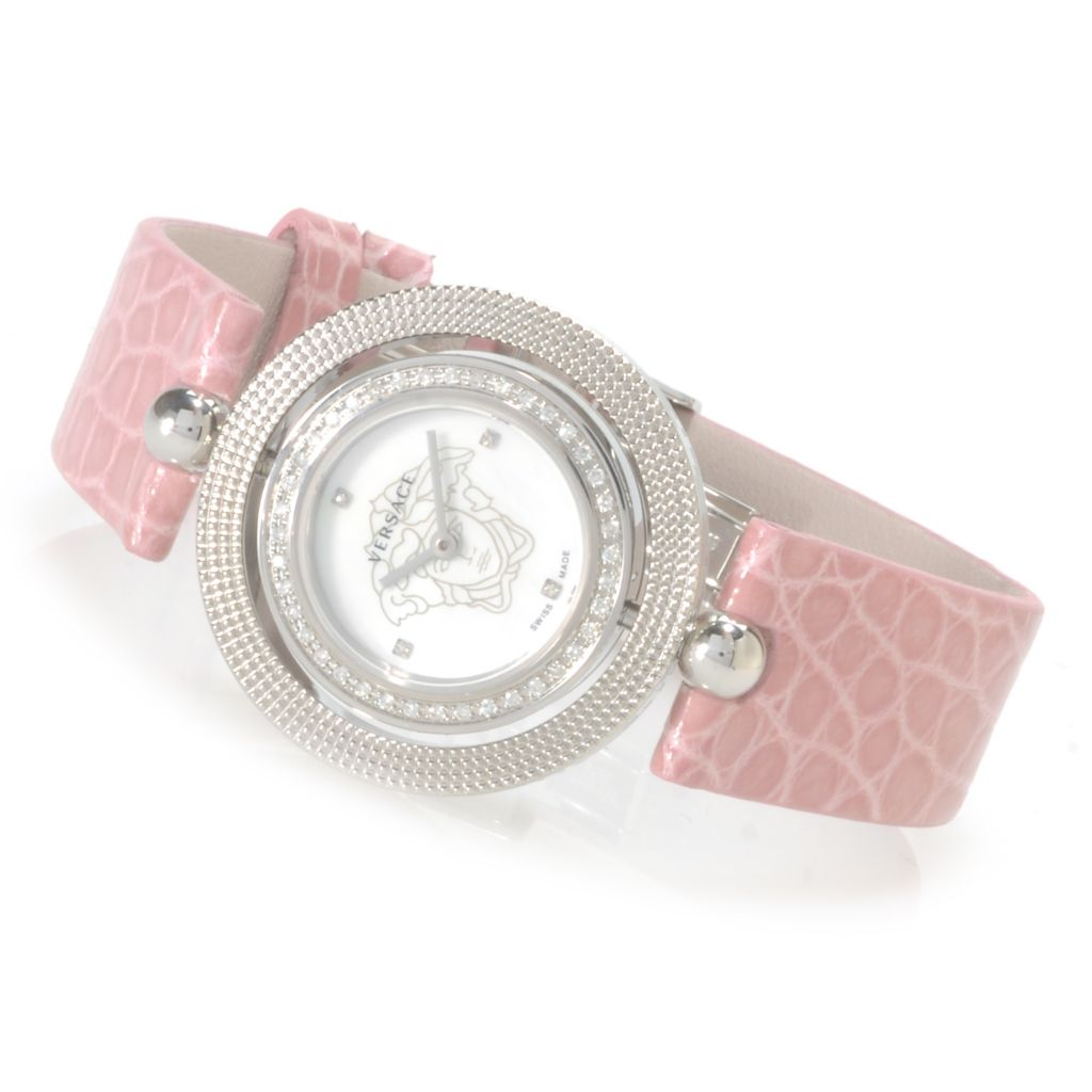 623-842 - Versace Women's Eon Diamond & Pink Sapphire Accent Swiss Made Quartz Alligator Strap Watch