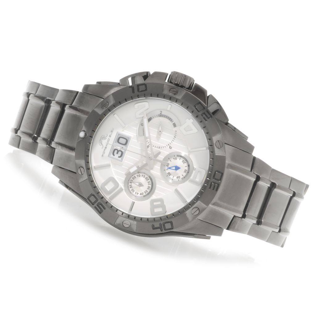 "623-901 - Porsamo Bleu Men's ""The Francoise"" Quartz Chronograph Big Date Stainless Steel Bracelet Watch"