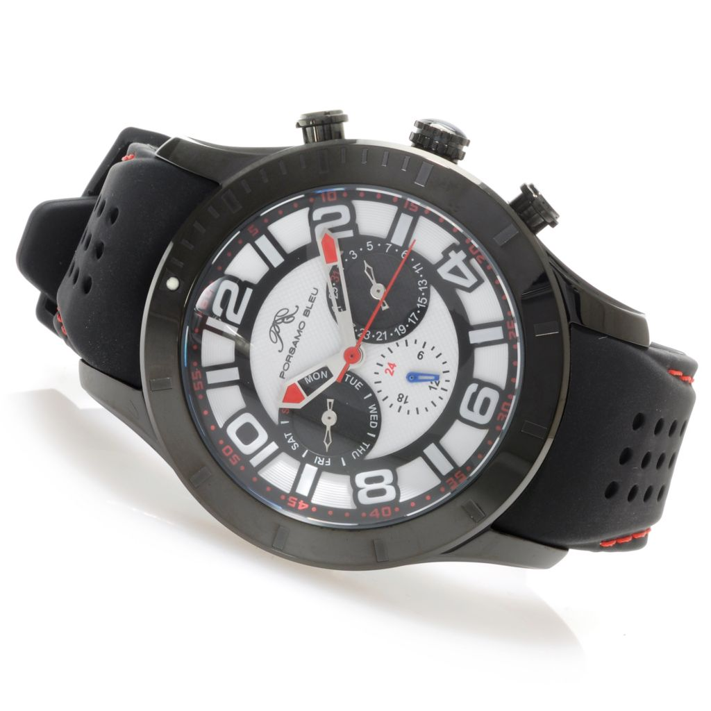 "623-903 - Porsamo Bleu Men's ""The Etienne"" Quartz 24-Hour Indicator Rubber Strap Watch"