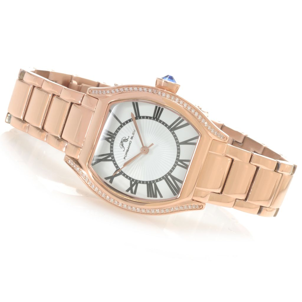 "623-905 - Porsamo Bleu Women's ""The Isabel"" Quartz Stainless Steel Watch Made w/ Swarovski® Elements"