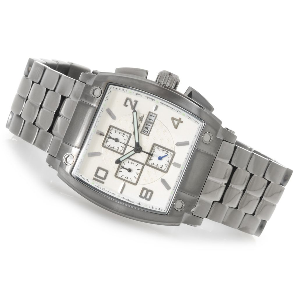 623-916 - Porsamo Bleu Rectangular London Quartz Chronograph Stainless Steel Bracelet Watch