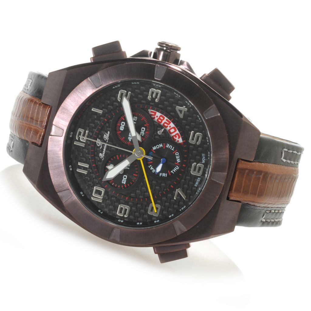 623-918 - Porsamo Bleu 50mm Ibiza Quartz Chronograph Alarm Carbon Fiber Dial Leather Strap Watch