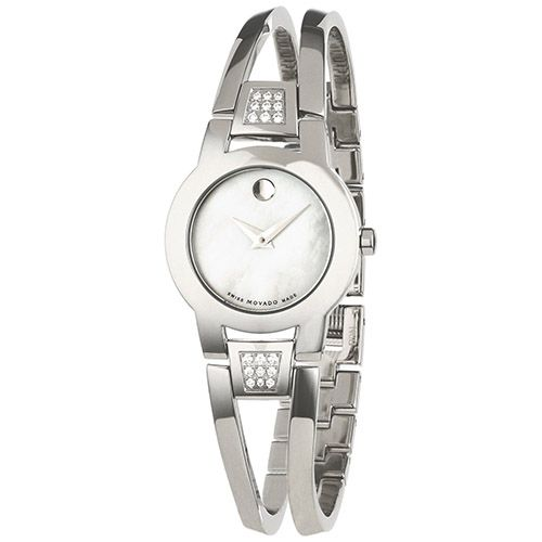 623-971 - Movado Women's Amorosa Diamond Accented Stainless Steel Bracelet Watch