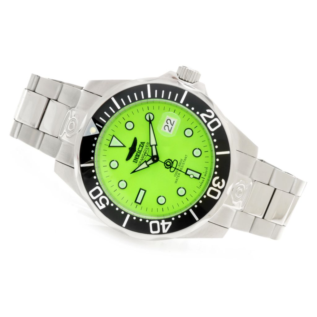 623-979 - Invicta Men's Grand Diver Automatic Lume Dial Bracelet Watch w/ Eight-Slot Dive Case