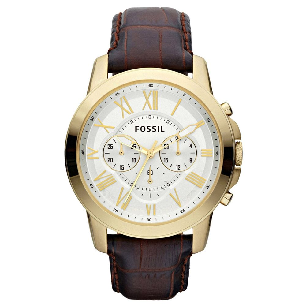 624-034 - Fossil Men's Grant Quartz Chronograph Leather Strap Watch