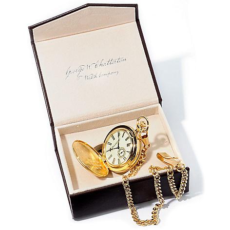 stauer men s 41mm mechanical 14k gold plated pocket watch