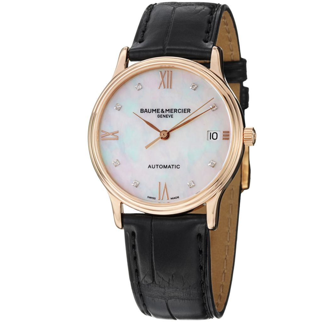 624-056 - Baume & Mercier Women's Classima Swiss Automatic Mother-of-Pearl Dial Leather Strap Watch