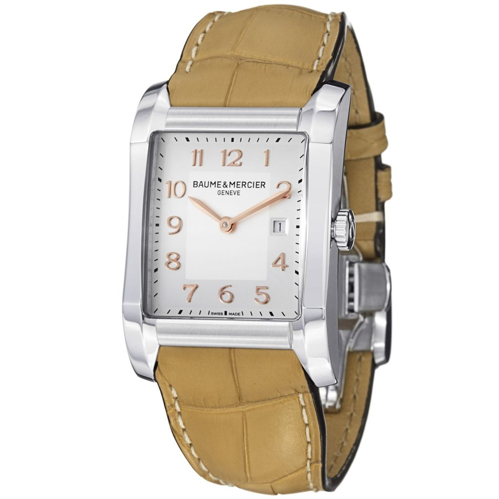 624-057 - Baume & Mercier Women's Hampton Swiss Quartz Silvertone Dial Leather Strap Watch