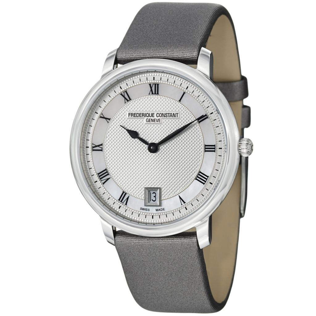 624-059 - Frederique Constant Women's Slim Line Swiss Quartz Satin & Leather Strap Watch