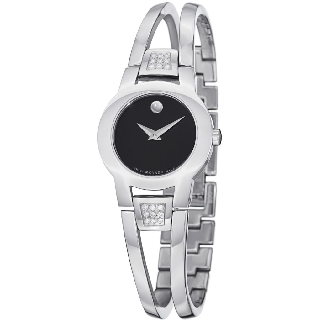 624-064 - Movado Women's Amorosa Diamond Accent Stainless Steel Bangle Bracelet Watch