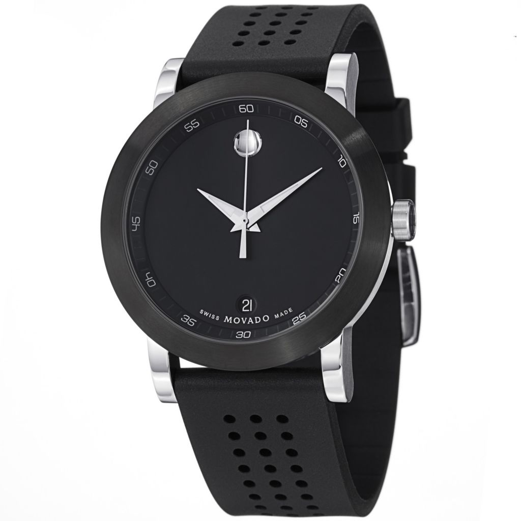 624-066 - Movado Men's Museum Dial Swiss Quartz Black Perforated Rubber Strap Watch