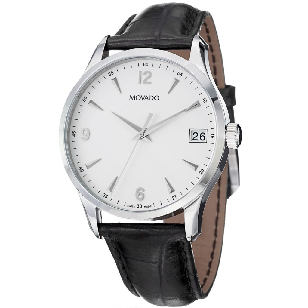 624-070 - Movado Men's Circa Swiss Quartz Leather Strap Watch