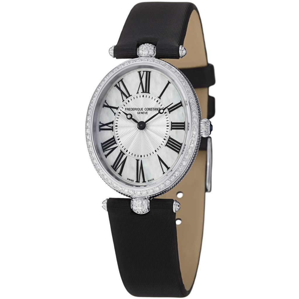624-072 - Frederique Constant Woman's Art Deco Swiss Quartz Mother-of-Pearl Dial Satin & Leather Strap Watch