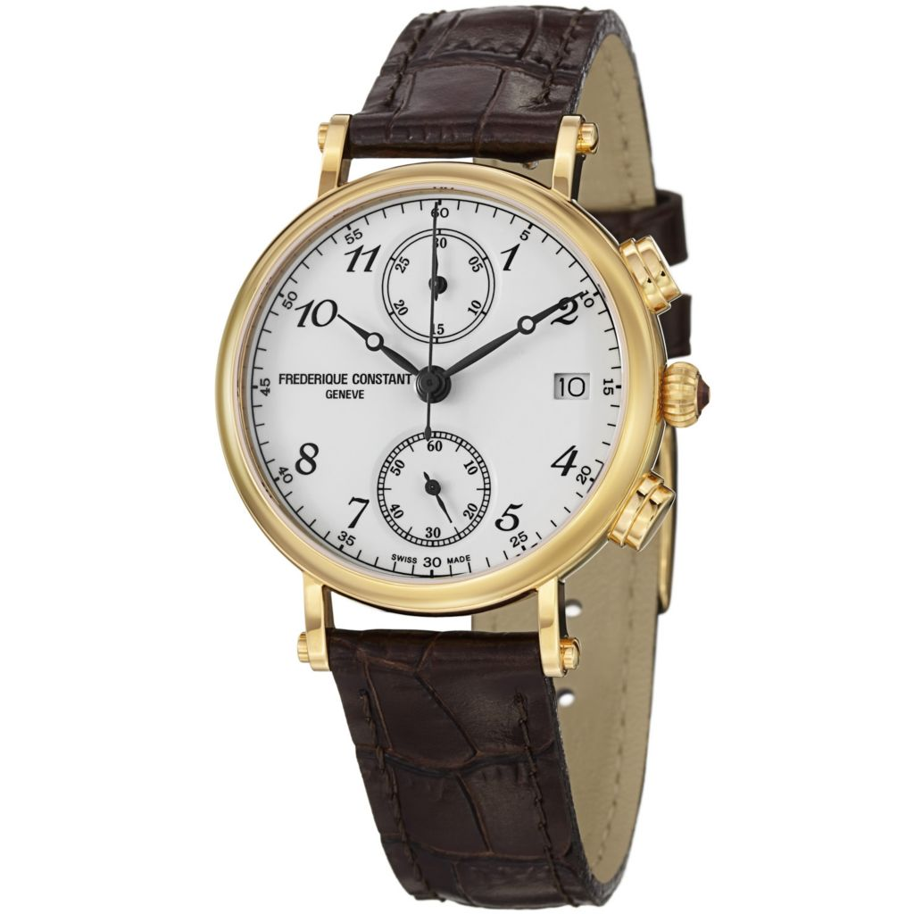 624-076 - Frederique Constant Women's Classics Swiss Quartz Chronograph Leather Strap Watch