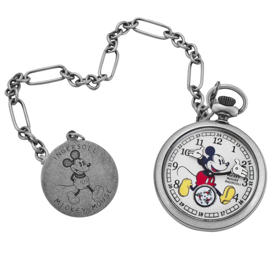 624-087 - Ingersoll Disney 50mm Mechanical Mickey Mouse Dial 30's Collection Pocket Watch