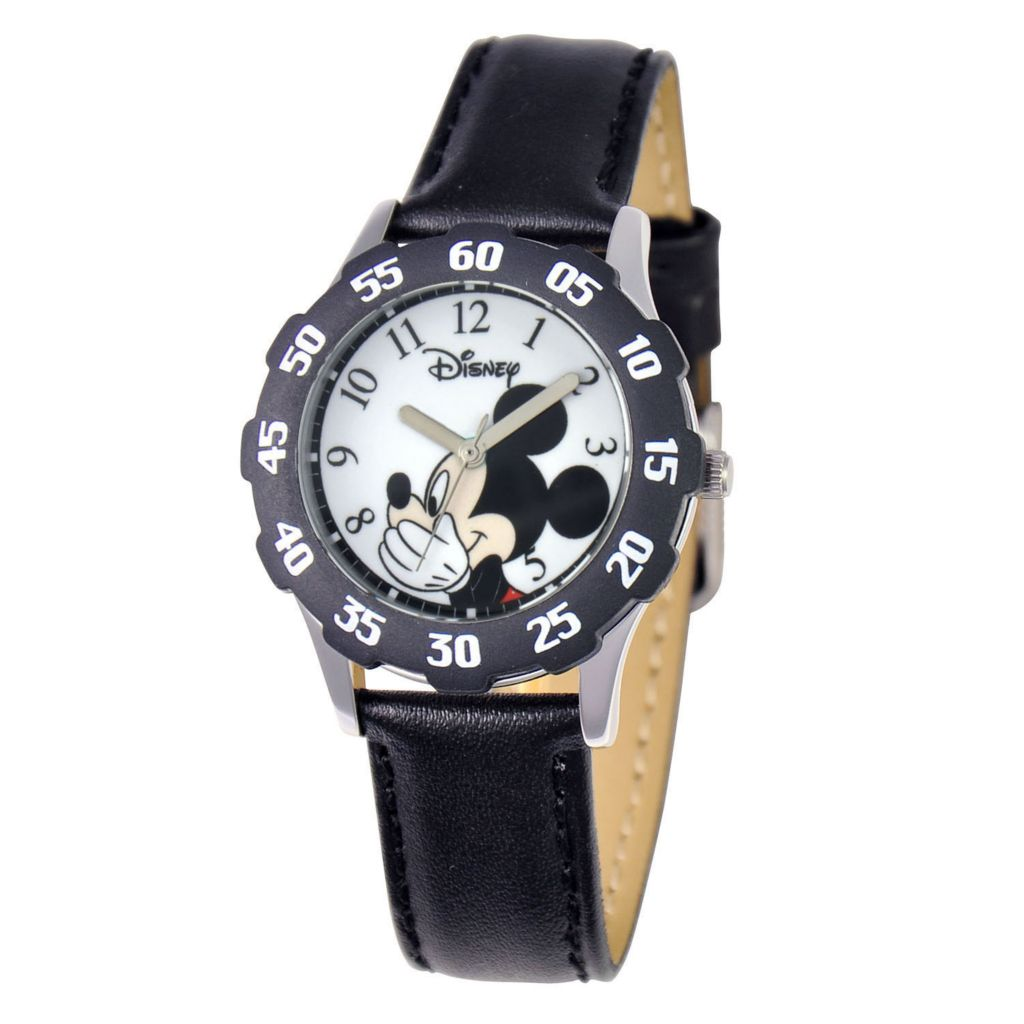 624-095 - Disney Kid's Mickey Mouse Stainless Steel Black Bezel Black Leather Strap Watch