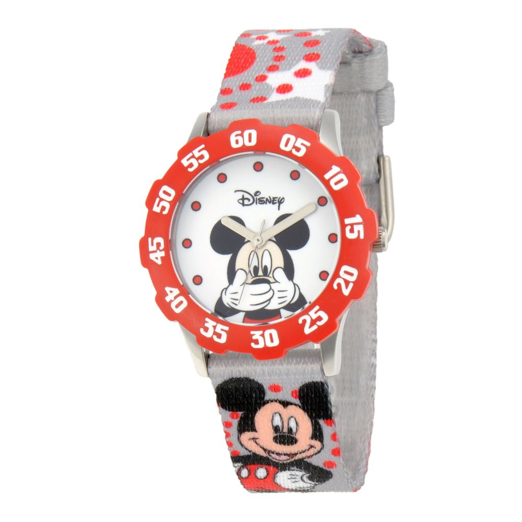 624-096 - Disney Kid's Mickey Mouse Stainless Steel Red Bezel Printed Strap Watch