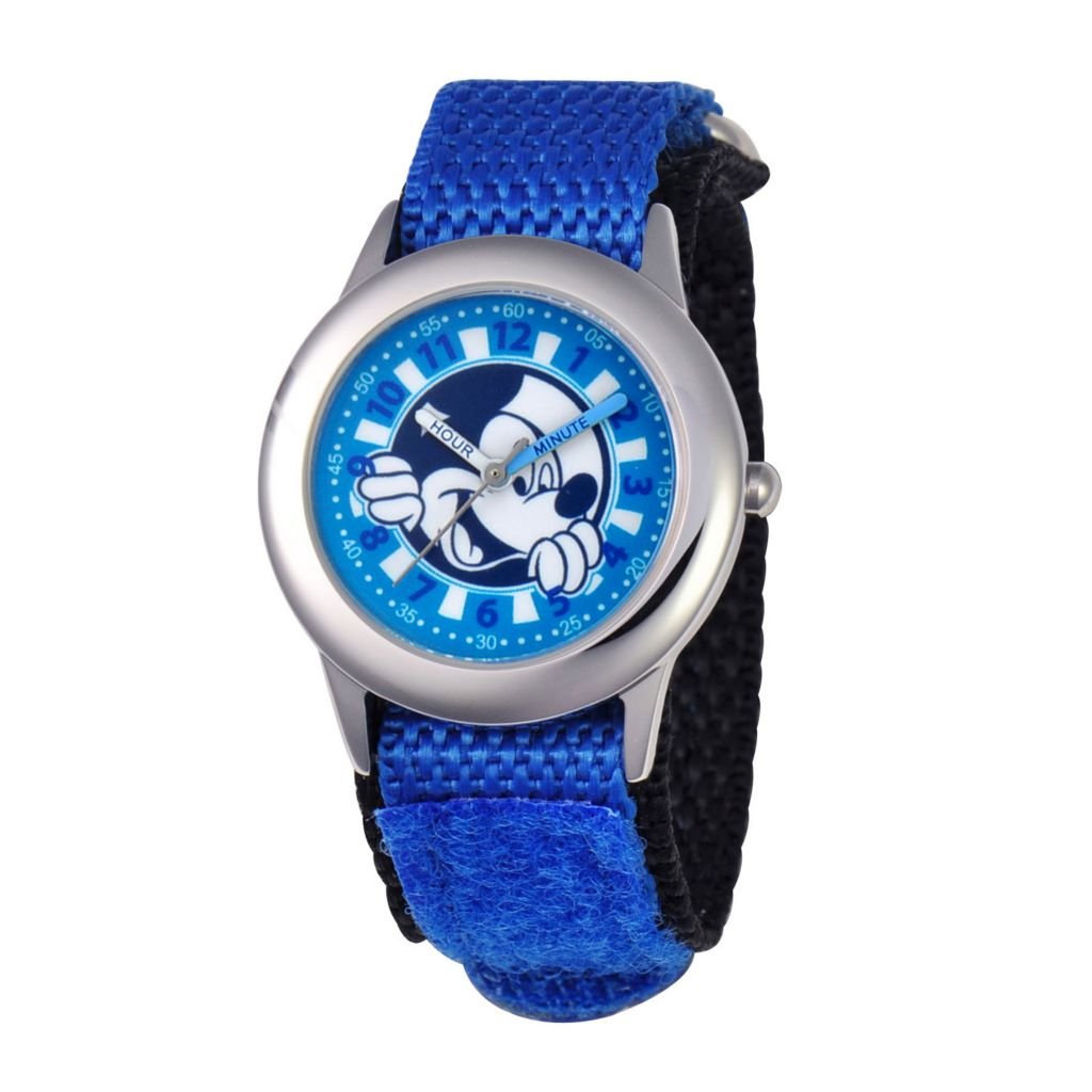 624-097 - Disney Kid's Mickey Mouse Stainless Steel Blue Nylon Strap Watch