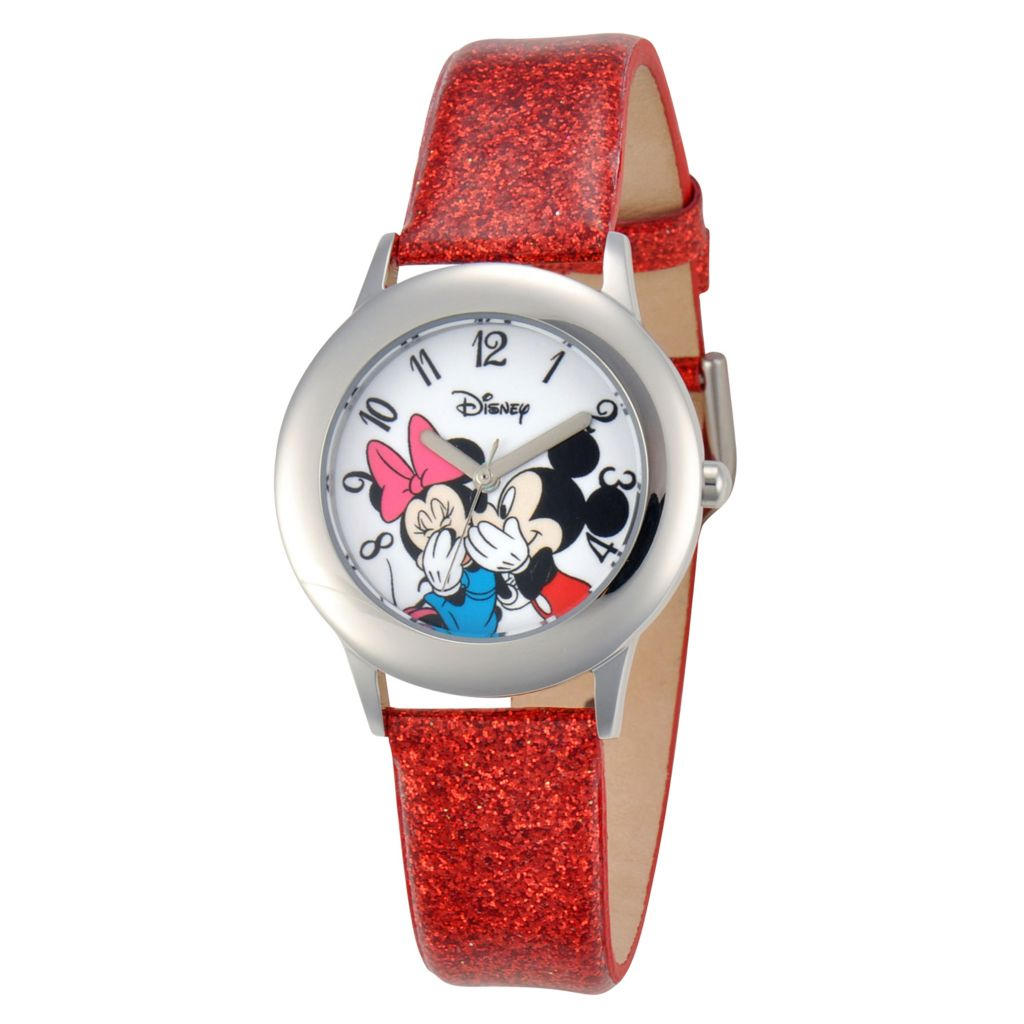 624-098 - Disney Kid's Mickey/Minnie Mouse Stainless Steel Red Glitter Leather Strap Watch
