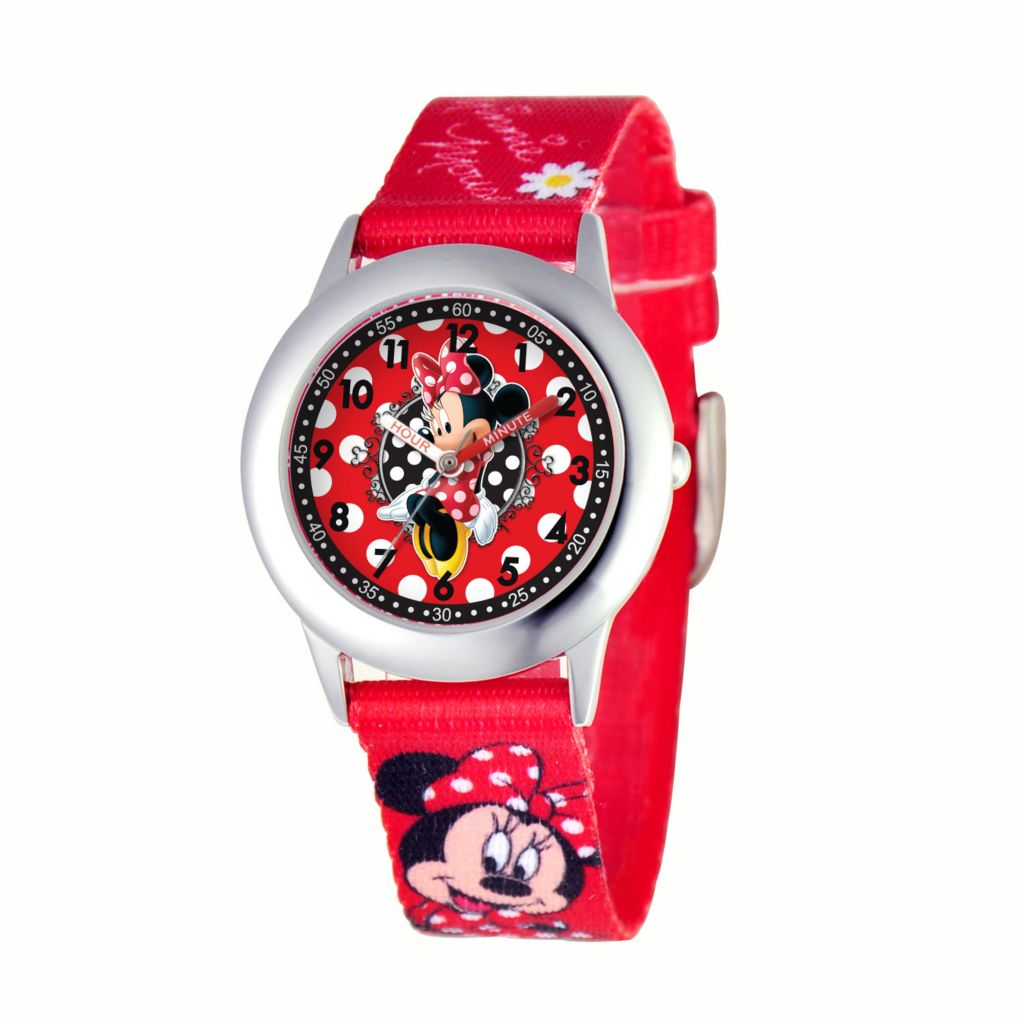 624-100 - Disney Kid's Minnie Mouse Stainless Steel Printed Strap Watch