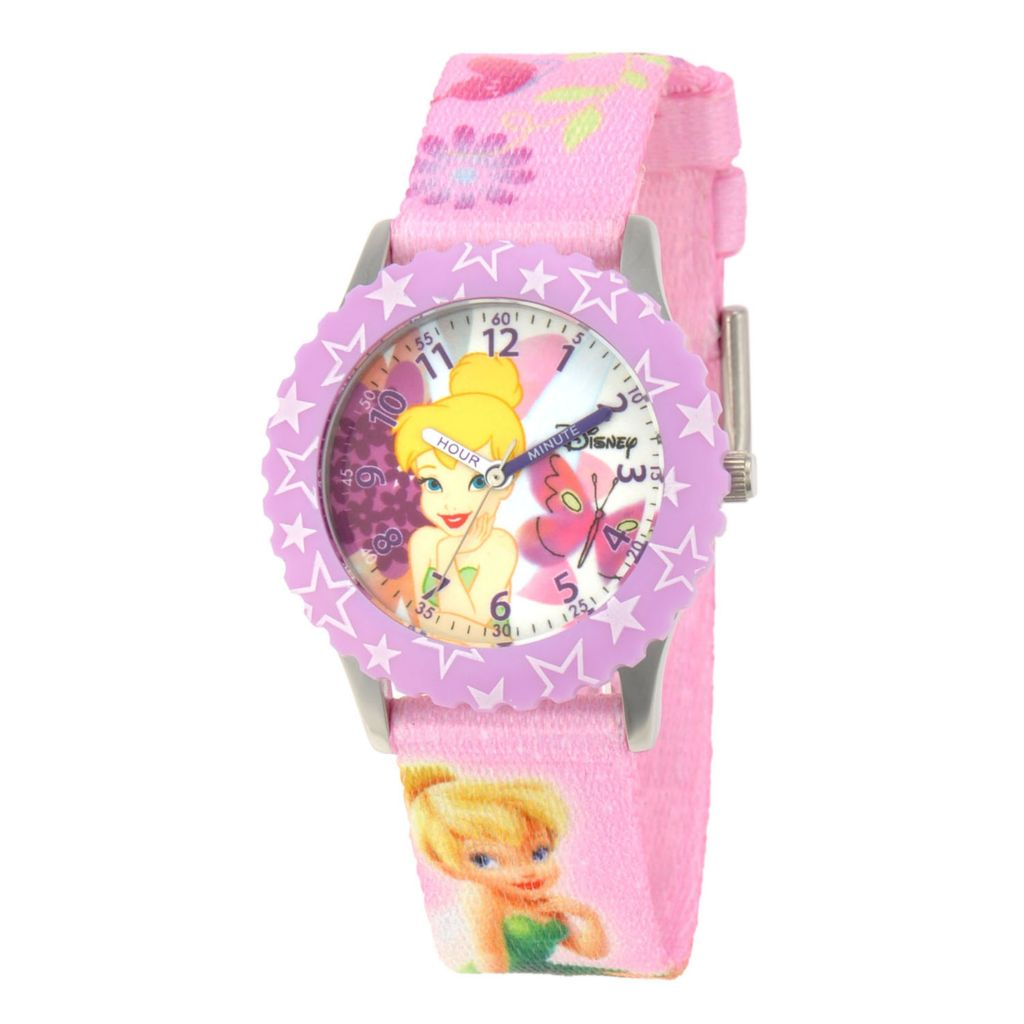 624-101 - Disney Kid's Tinker Bell Stainless Steel Printed Bezel Printed Strap Watch