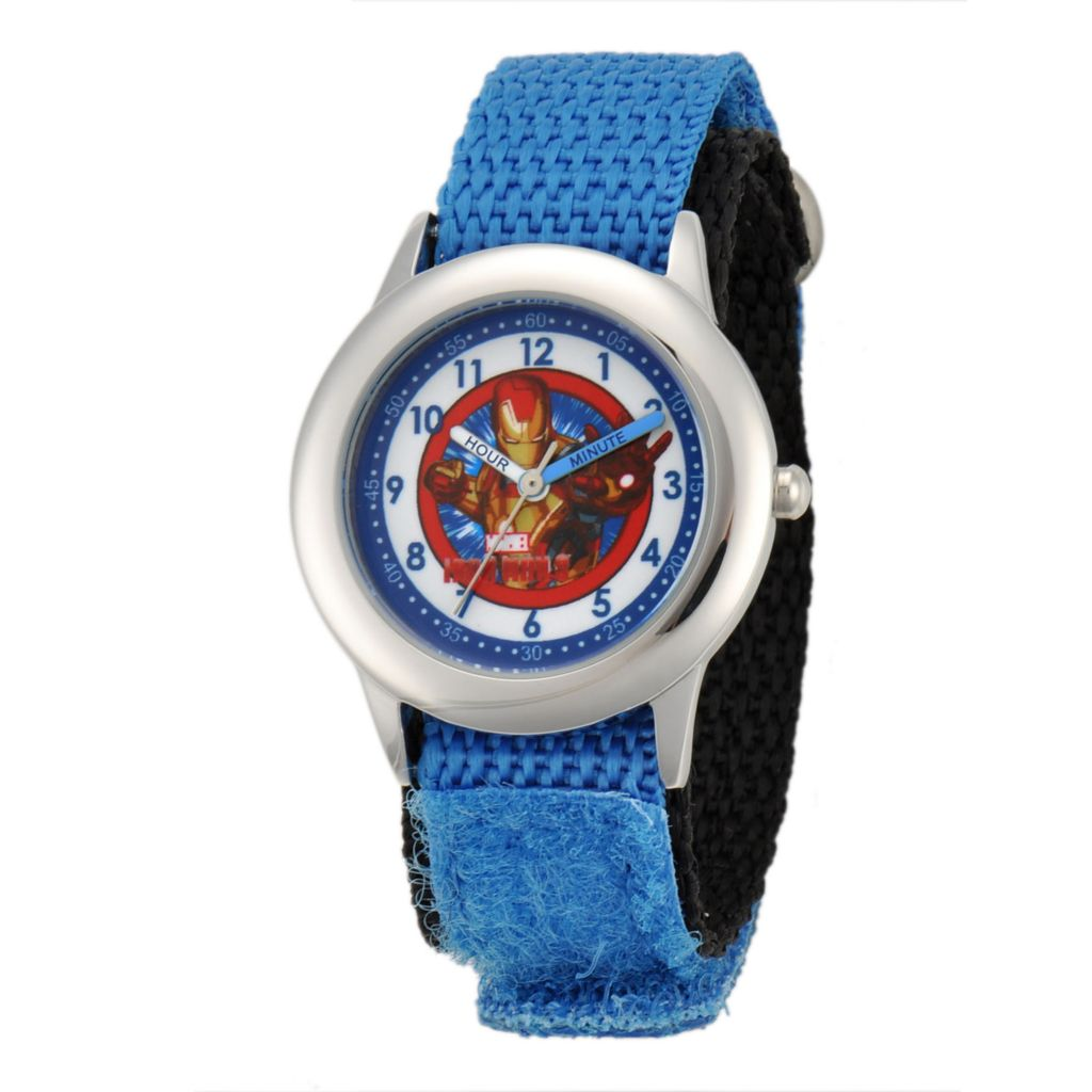 624-102 - Marvel Kid's Iron Man Stainless Steel Blue Nylon Strap Watch