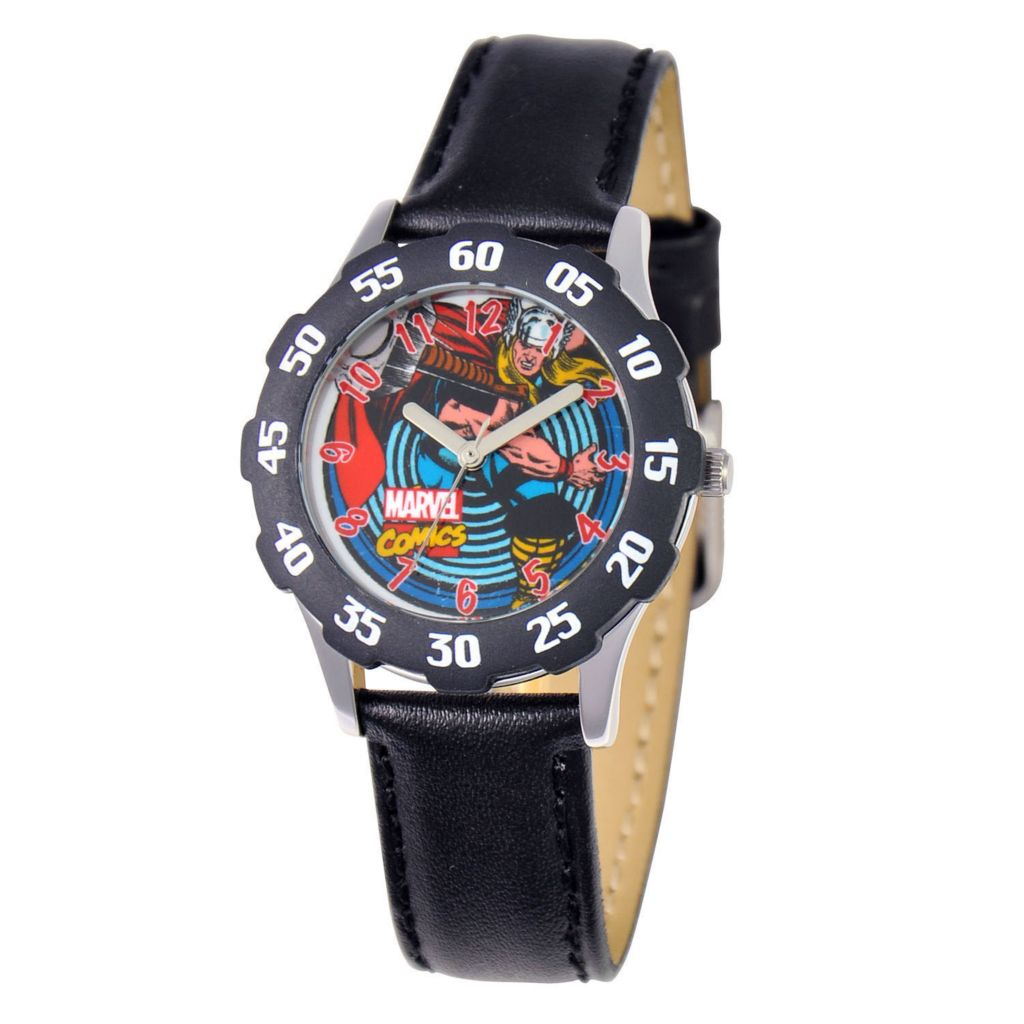 624-104 - Marvel Kid's Stainless Steel Black Bezel Black Leather Strap Watch