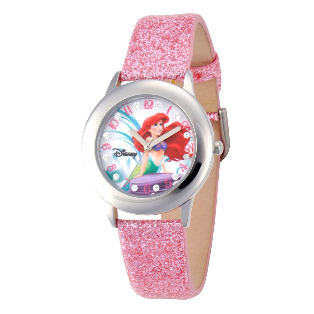 624-106 - Disney Kid's Ariel Glitz Stainless Steel Light Pink Glitter Leather Strap Watch