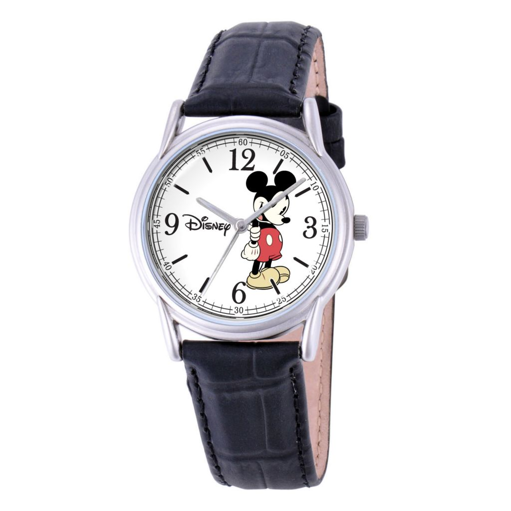 624-116 - Disney Mickey or Minnie Mouse Classic Leather Strap Watch
