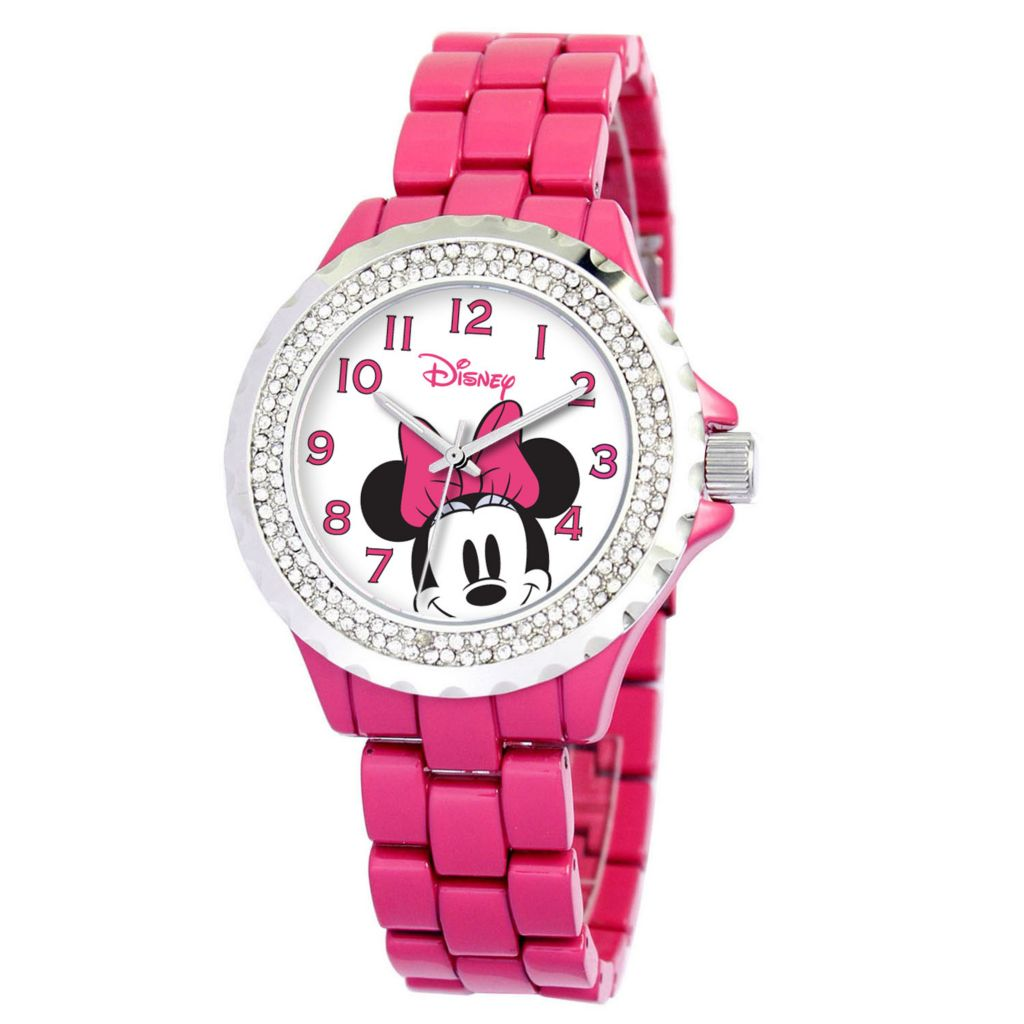 624-120 - Disney Women's Quartz Minnie Mouse or Tinker Bell Sparkle Bracelet Watch