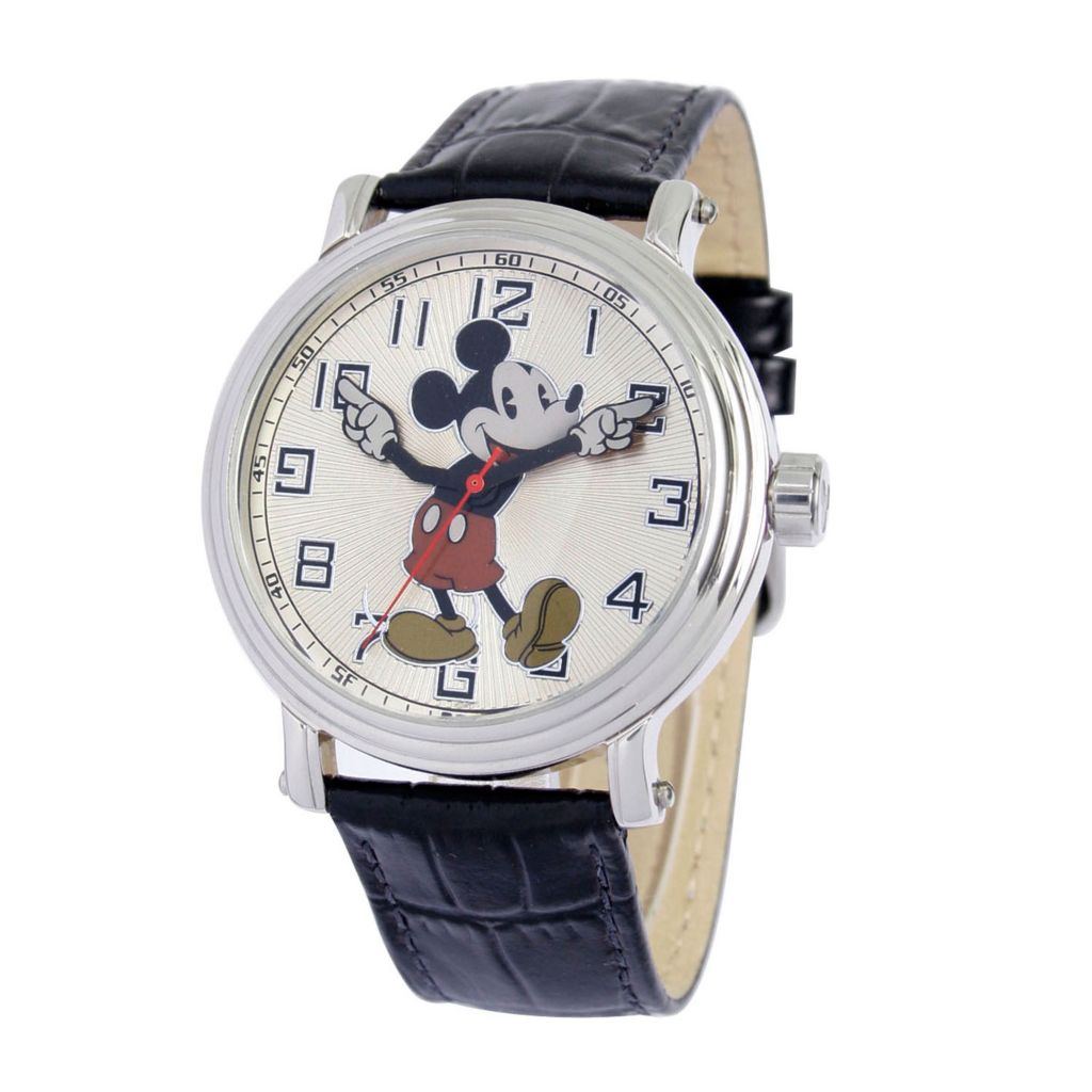 624-122 - Disney Men's Quartz Vintage-Style Mickey Mouse Leather Strap Watch