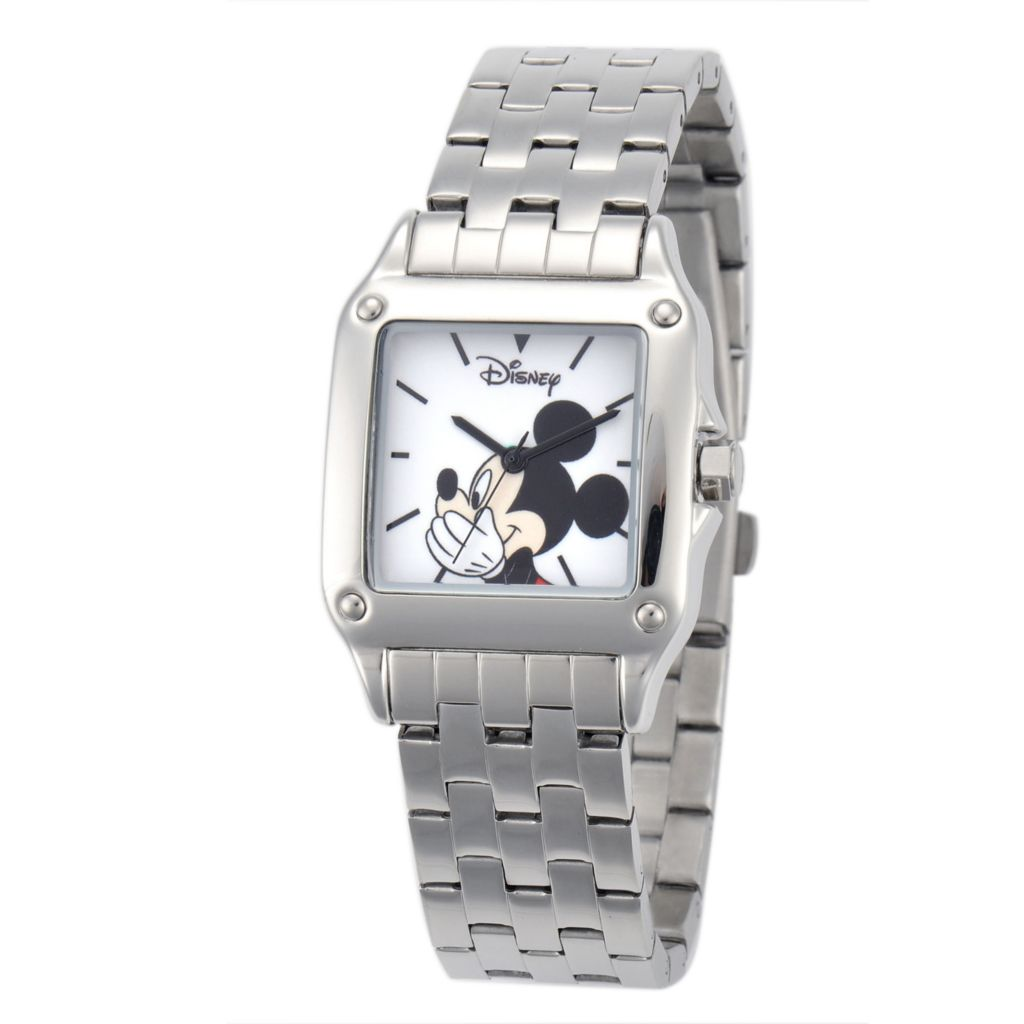 624-123 - Disney Women's Quartz Mickey or Minnie Mouse Square Dial Stainless Steel Bracelet Watch