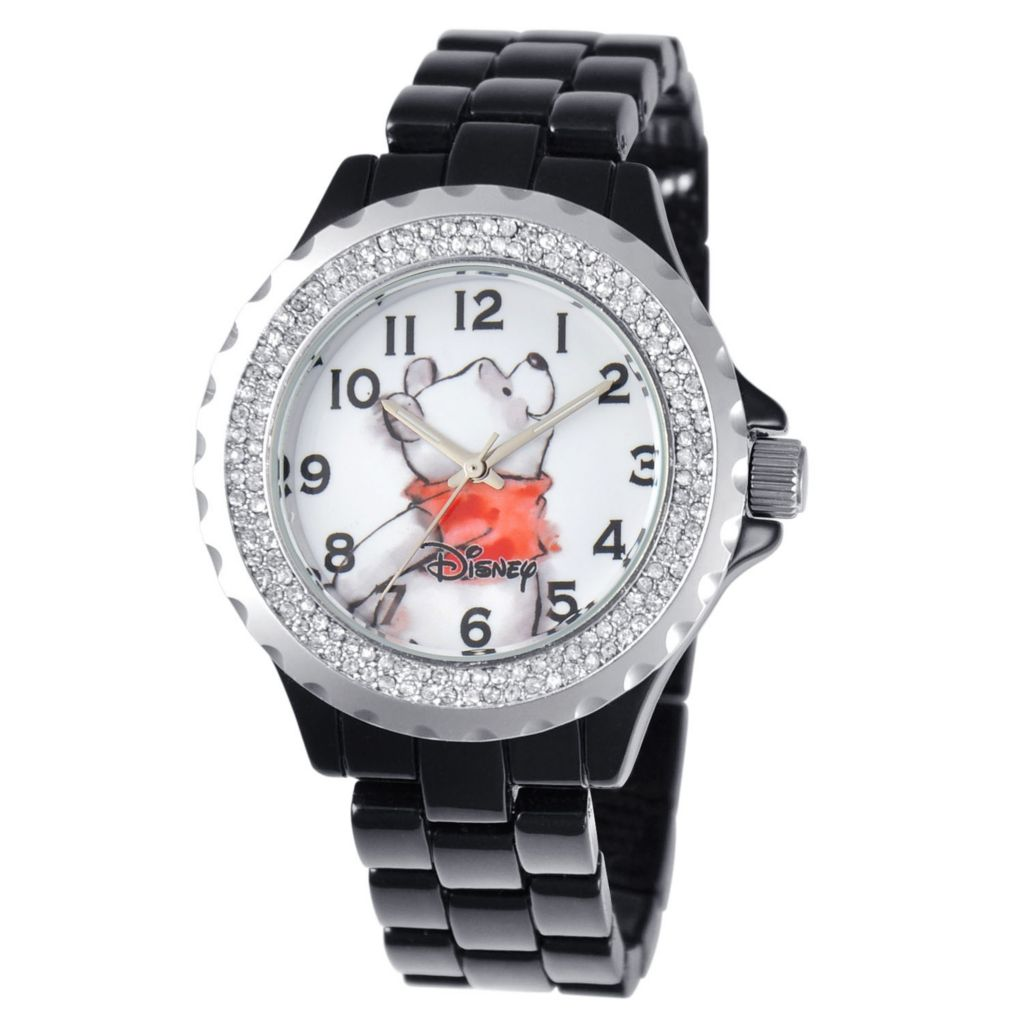 624-125 - Disney Women's Quartz Minnie Mouse, Cinderella or Winnie the Pooh Sparkle Bracelet Watch