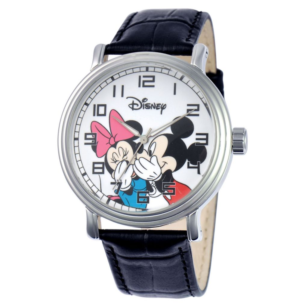 624-126 - Disney Quartz Vintage-Style Mickey & Minnie Mouse Leather Strap Watch