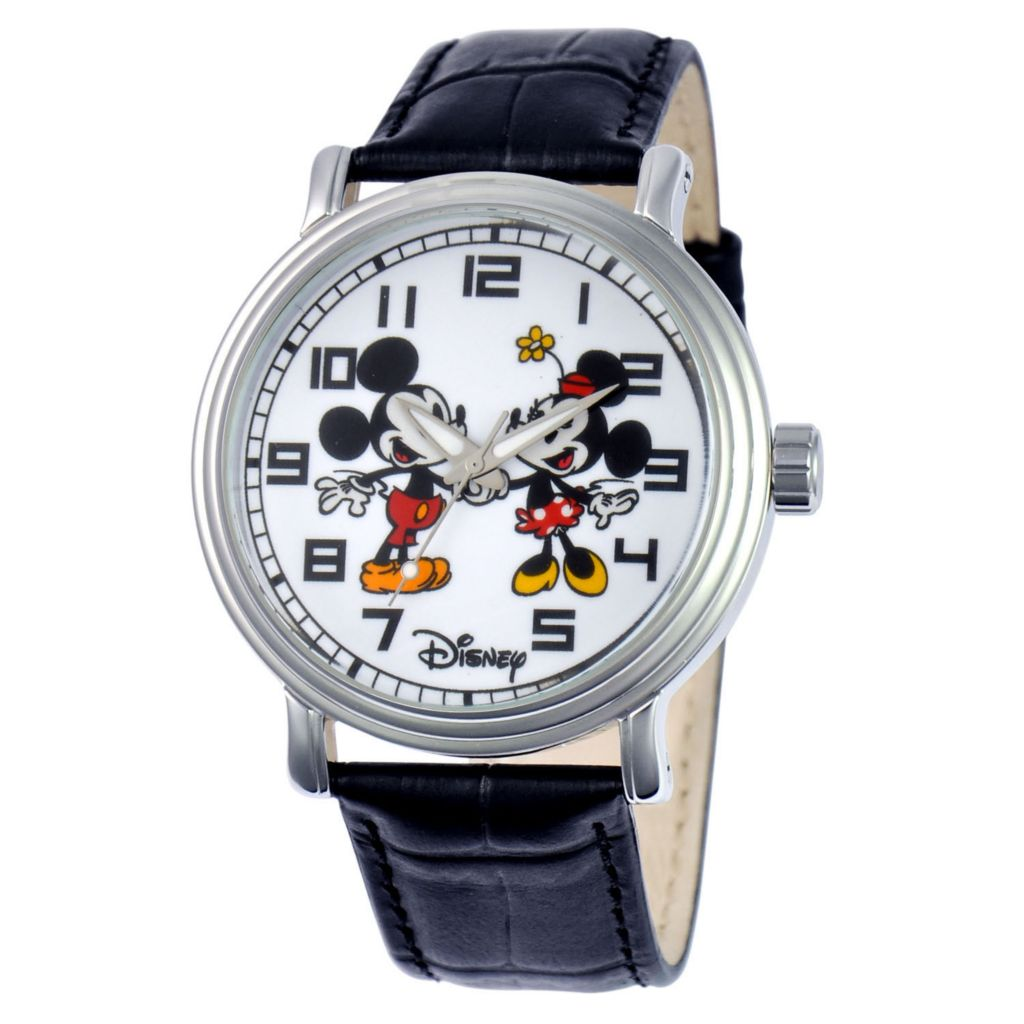 624-127 - Disney Quartz Vintage-Style Mickey & Minnie Mouse Dial Leather Strap Watch