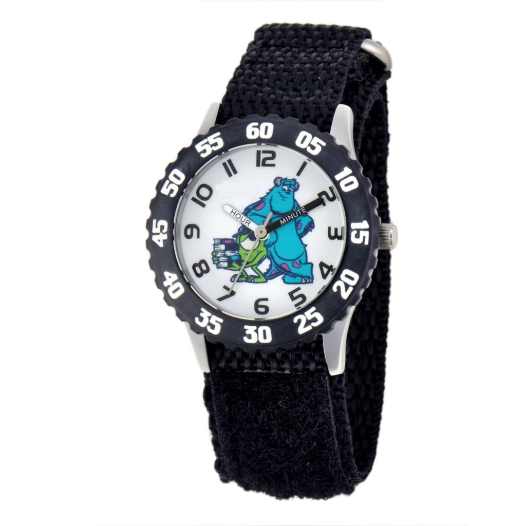 624-133 - Disney Kid's Monsters Inc. Character Stainless Steel Black Nylon Strap Watch