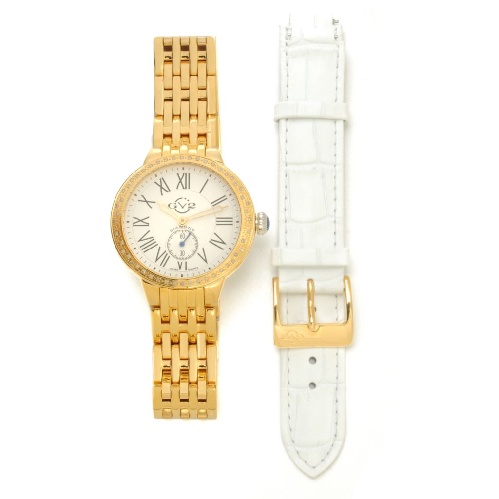 624-136 - GV2 by Gevril Women's Astor Limited Edition Swiss Quartz Bracelet Watch w/ Extra Strap