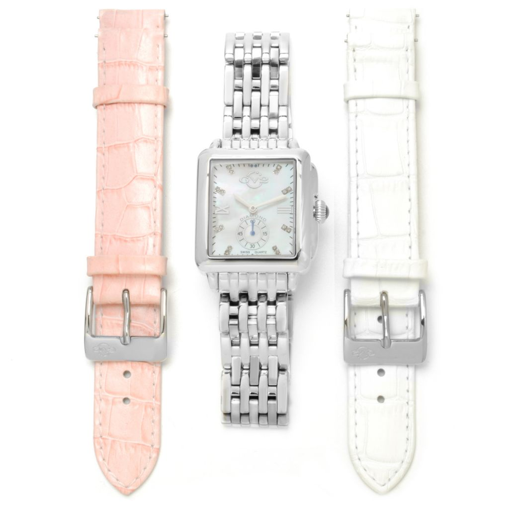 624-137 - GV2 by Gevril Women's Bari Swiss Quartz Stainless Steel Bracelet Watch w/ Two Extra Straps