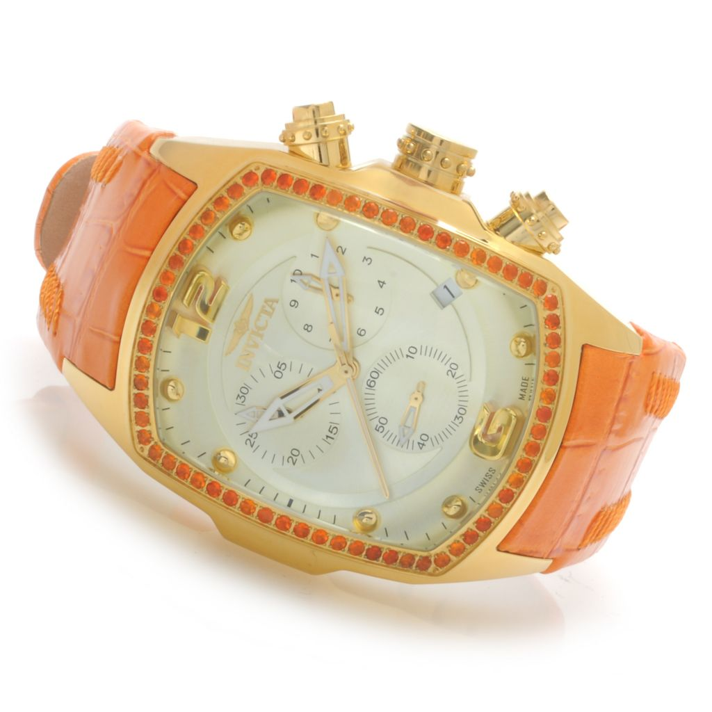624-138 - Invicta Lupah Revolution Swiss Chronograph Fire Opal Bezel Leather Strap Watch