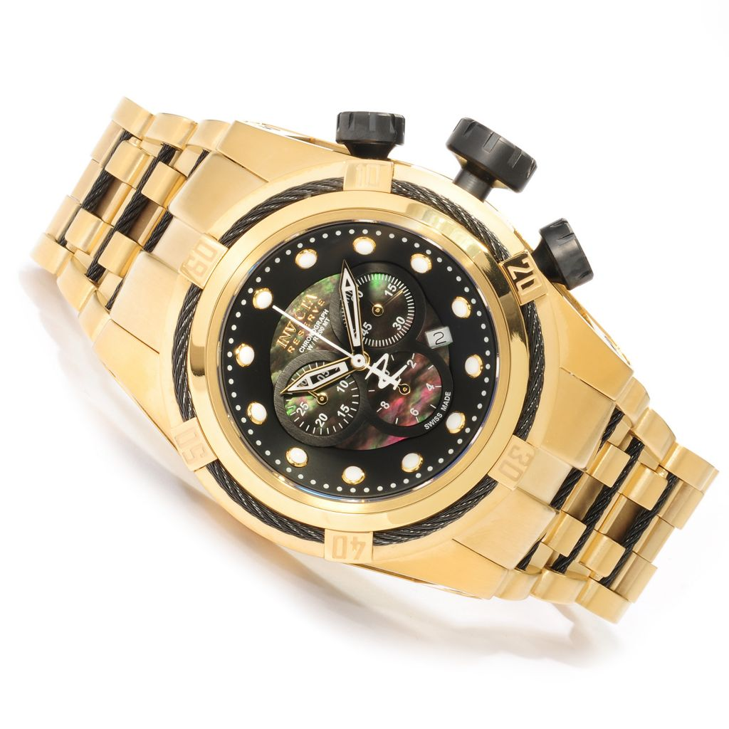 624-149 - Invicta Reserve Men's Bolt Zeus Swiss Chronograph Mother-of-Pearl Bracelet Watch