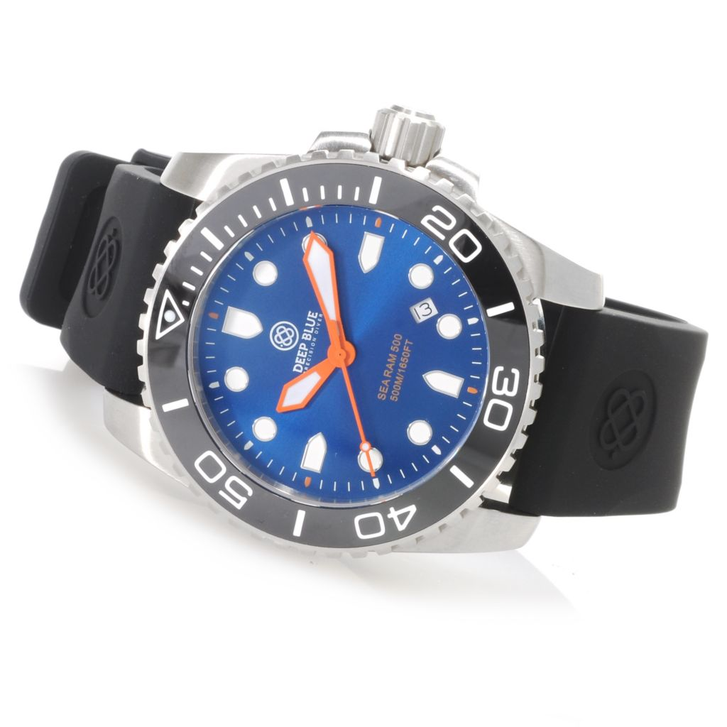 624-154 - Deep Blue Men's Sea Ram 500 Swiss Made Quartz Ceramic Bezel Silicone Strap Watch