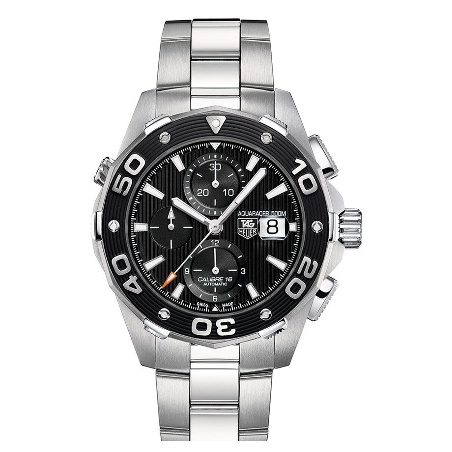 624-166 - Tag Heuer 46mm Aquaracer Automatic Chronograph Stainless Steel Bracelet Watch