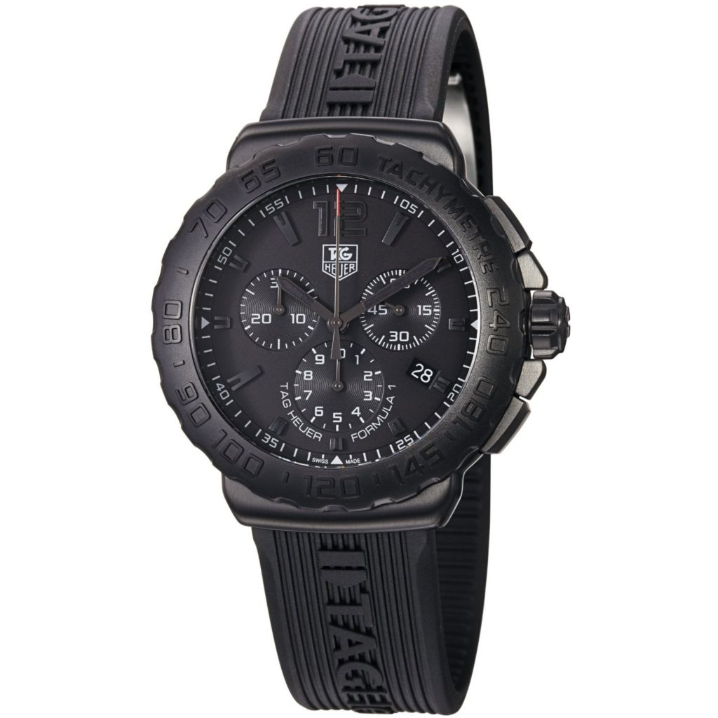 624-175 - Tag Heuer 42mm Formula 1 Swiss Quartz Chronograph Blacked-out Dial Strap Watch