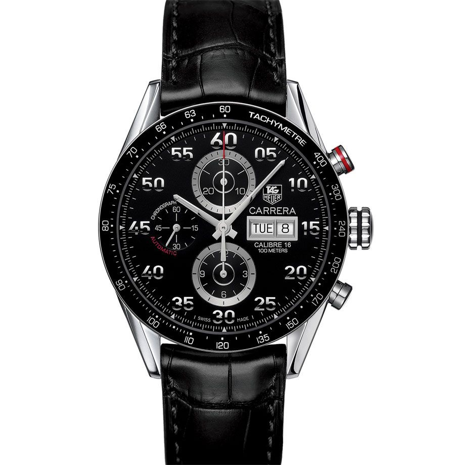 624-178 - Tag Heuer 43mm Carrera Swiss Automatic Chronograph Alligator Strap Watch