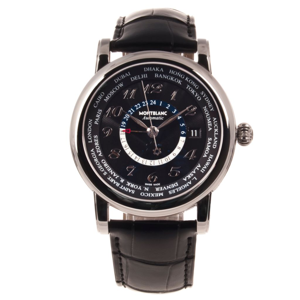624-208 - Montblanc 42mm Star World Time Swiss Automatic Alligator Strap Watch