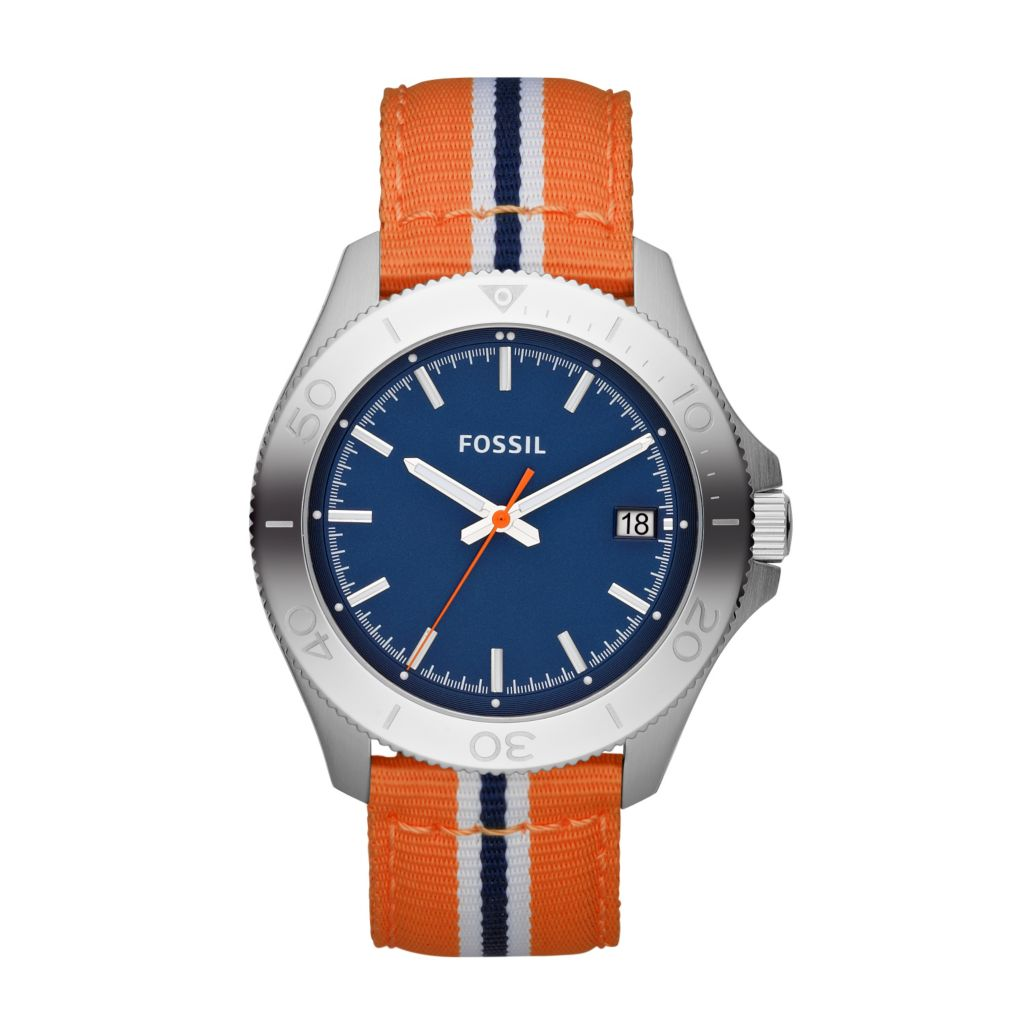 624-242 - Fossil Men's Retro Traveler Quartz Nylon Strap Watch