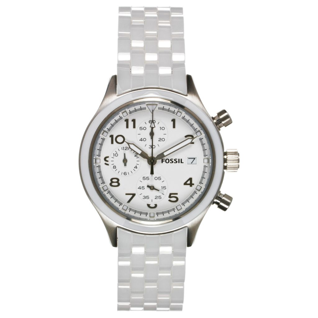 624-246 - Fossil Women's Compass Quartz Chronograph Ceramic Bracelet Watch
