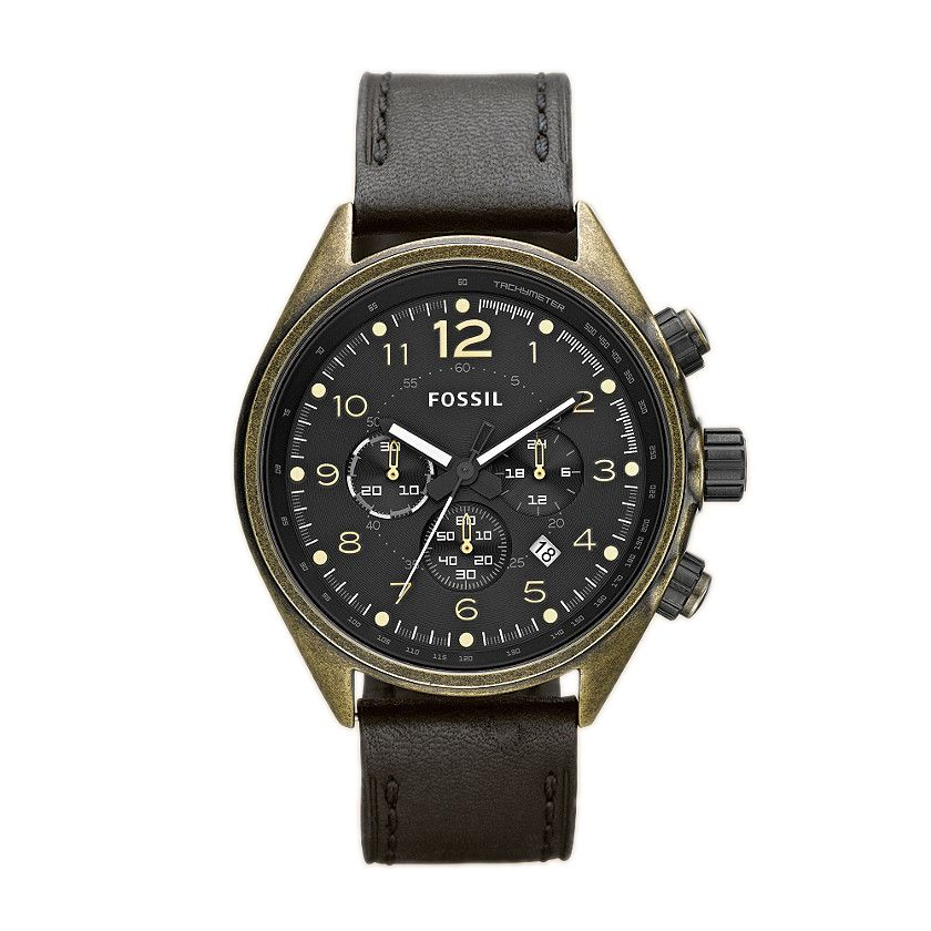624-250 - Fossil Men's Flight Quartz Chronograph Leather Strap Watch