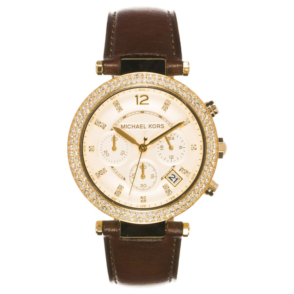 624-266 - Michael Kors Women's Parker Quartz Chronograph Leather Strap Watch