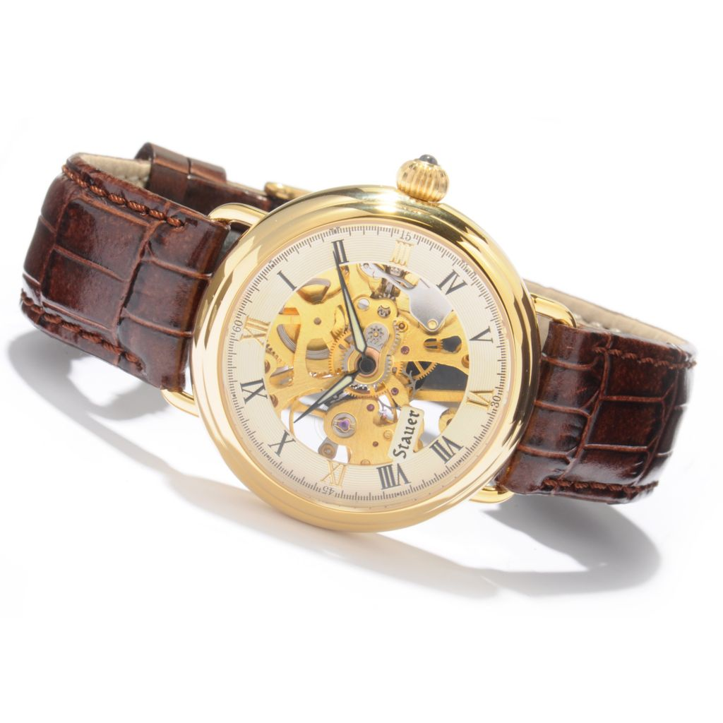 624-296 - Stauer 39mm 1779 Skeleton Mechanical Leather Strap Watch